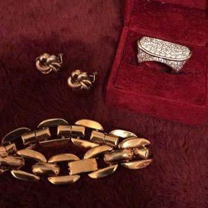 Accessories - BOLD diamond ring, gold tone earrings & bracelet